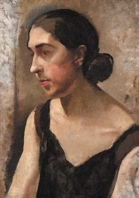 head of a woman in a black dress by eileen reid
