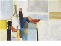 still life (horizontal) with fruit and flasks by donald hamilton fraser