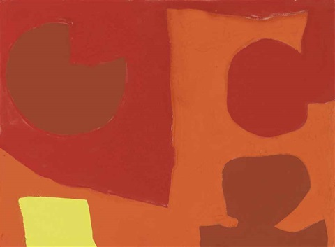 muted red brown and orange with lemon by patrick heron