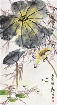 荷花 镜片 设色纸本 by huang leisheng