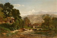 river landscape with cow herds by joseph quinaux