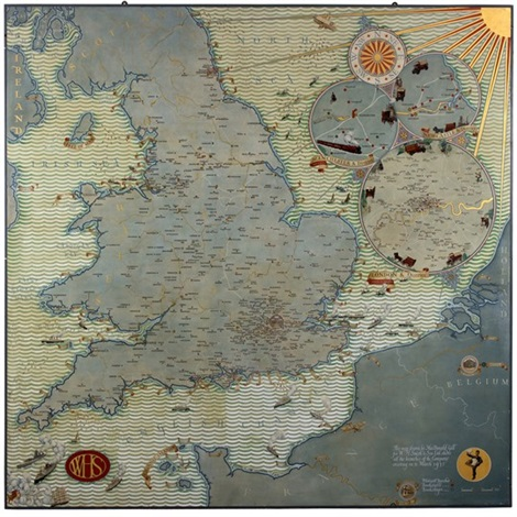 Map Of England And Europe.A Map Of England Wales And Northern Europe By Macdonald Gill On Artnet