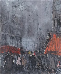 scène de rue à montmartre by junji yamashita