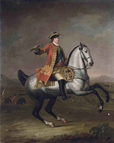 equestrian portrait of prince william augustus duke of cumberland in a scarlet military state coat with the ribbon of the garter with infantry by david morier