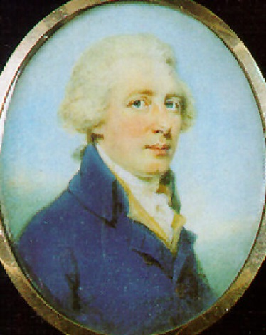 a gentleman with powdered hair en queue wearing blue coat by edward miles