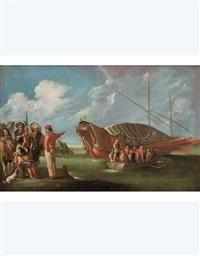 marina con vascello alla fonda, barca e figure (collab. w/workshop) by cornelis de wael