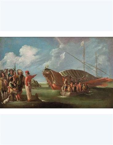 marina con vascello alla fonda barca e figure collab wworkshop by cornelis de wael