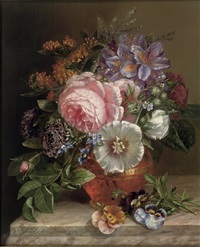 bouquet of summer flowers on a marble edge by adriana johanna haanen