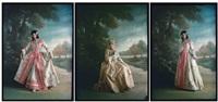 costumes d'époque xviiième siècle devant un sentier forestier (3 works) by edmond goldschmidt