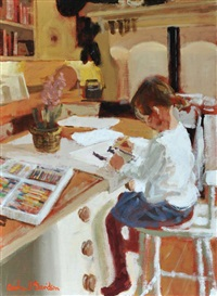 girl drawing in the kitchen by rowland davidson