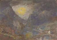 sisteron from the north-west, with a low sun by joseph mallord william turner