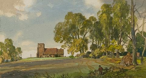 Levington church by Leonard Russel Squirrell on artnet