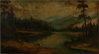 mountainous landscapes with fly fishermen and hunters (3 works) by charles hepner i