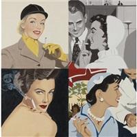 woman smoking: white hat by julia jacquette