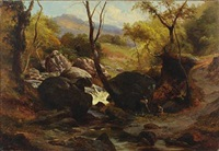 wood collectors by a stream by edward henry holder