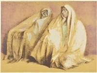 dos mujeres con rebozos, sentadas by francisco zúñiga