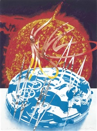 sun sets on the time zone (from welcome to the water planet) by james rosenquist