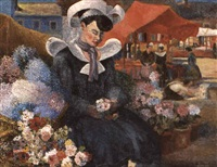 breton flower seller by george bernard duncan