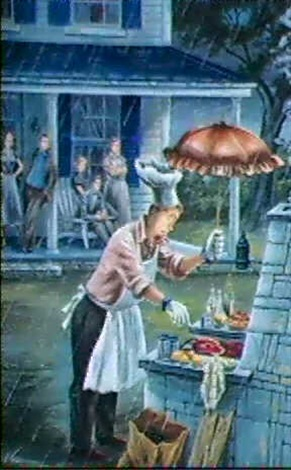 magazine cover man tending barbeque in the rain saturday evening post by constantin alajalov