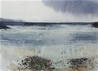 st. finian's bay, low tide, strong winds, rain, sun by kurt jackson rwa