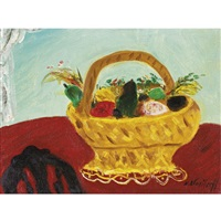 still life with gold basket by nikolai ivanovich vasilieff
