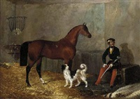 a cavalry officer with his charger and a dog in a stable by charles w. davies