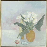 flowers with wine glass by charlotte ardizzone