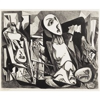 untitled - cubist figures in interior by joseph vogel