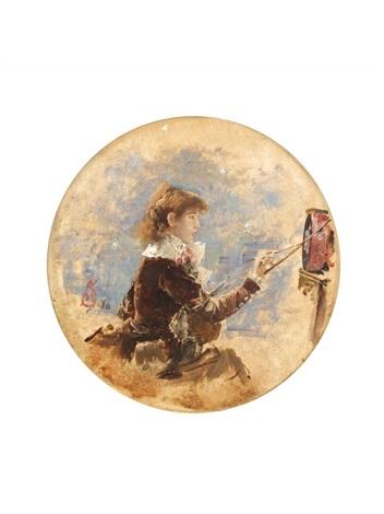 sarah bernhardt peignant son tambourin pour la fête de murcie by alfred stevens