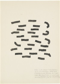 this is a study for black and whiteness with two whites and one black so that the composition is unified and contrasting to the paper, nos.2006 and 2038 (in 2 parts) by richard tuttle