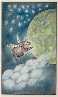 the pig at the candy store (illustration for fables) by arnold lobel