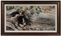 chipmunks in a log by bob henley