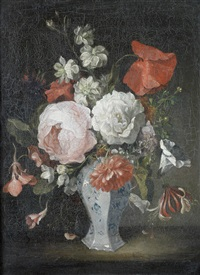 roses, poppies, honeysuckle and other flowers in a porcelain vase on a table-top by louis tessier