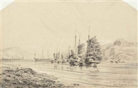 jonques dans la baie de hong-kong (+2 others; 3 works) by auguste borget