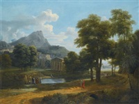 a mountainous landscape, with a view of pheneos and the temple of minerva caphyes by jean victor bertin