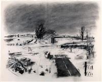 empty landscape with cul-de-sac by william kentridge