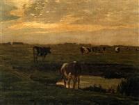 cattle by a pond at sunset by oskar frenzel