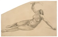 seated nude, holding a torch aloft by bonaventura genelli