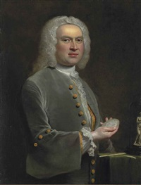 portrait of a sculptor, half-length, in a grey coat with gold buttons and a lace shirt, holding a medallion, beside a table with sculptor's tools... by joseph highmore