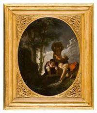 paesaggio con giocatori di carte e filatrice and paesaggio con lavandaie (a pair) by paolo monaldi