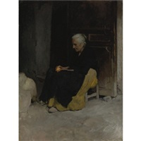 old woman peeling an orange by edward simmons