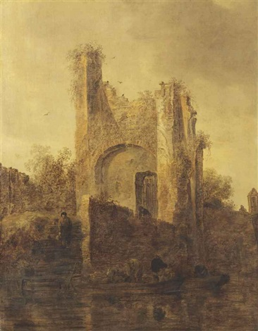 a river landscape with fishermen by a ruin on the bank by jan josefsz van goyen