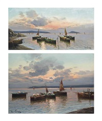 fishermen on the bay of naples at dusk, capri beyond and untitled (3 works) (4 works) by de luca
