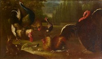 a turkey, peacock and cockerels with a rabbit in a landscape by giovanni agostino (abate) cassana