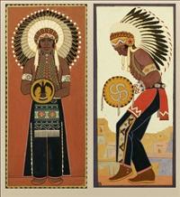native american dancing (+ native american standing; 2 works, 2nd w/pencil sketch, verso) by francisco cornejo