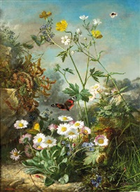daisies, buttercups, and forget-me-nots on a forest floor, with butterflies by jean marie reignier
