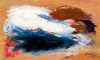 abstract in rood wit blauw by eugène brands