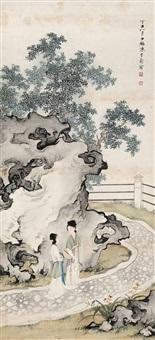 幽园仕女 立轴 设色绢本 by chen shaomei