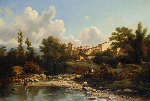 figures by a river with a village beyond by g viscardi