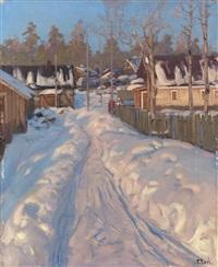 russian village in winter by vassilij filippovich levi